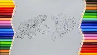 Đồ chơi trẻ em - TÔ MÀU NGƯỜI SẮT VÀ NGƯỜI NHỆN - Iron Man and Spiderman Coloring Pages (Mèo Tom)