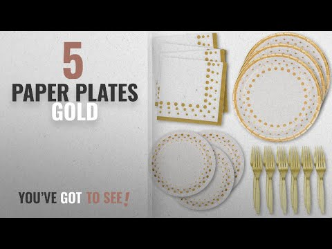 Best Paper Plates Gold [2018]: White And Gold Dot Disposable Paper Plates & Napkins; 50 Dinner