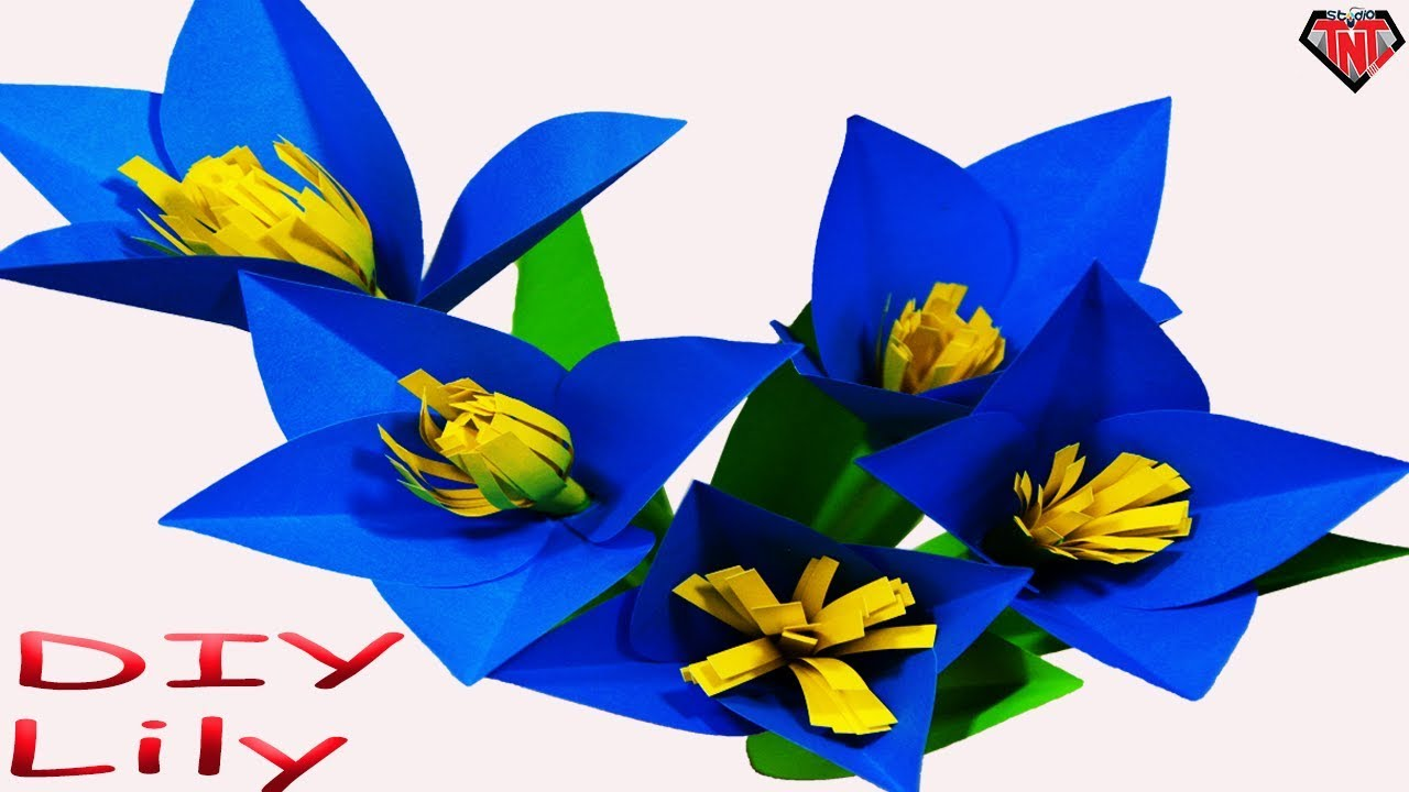 How To Make Paper Blue Lily Flowers Diy Origami Flower Lily Youtube