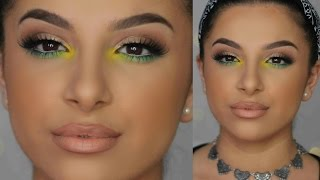 Pop of Green + Yellow Makeup Tutorial | Makeup By Leyla