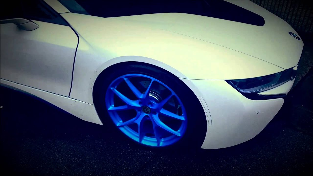 Bmw I8 Lowered With 21 Hre P101 Wheels In Ilectric Blue Youtube