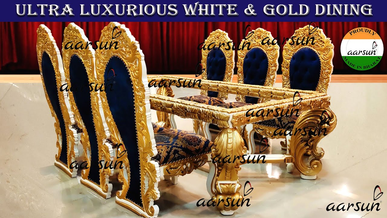 #278 Handcrafted 8 Seater Dining Set, White Gold, Floral Fabric | Woodworking @Aarsun - Art of India