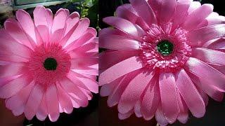 Гербера из Лент/Цветы из лент/ gerbera flowers/