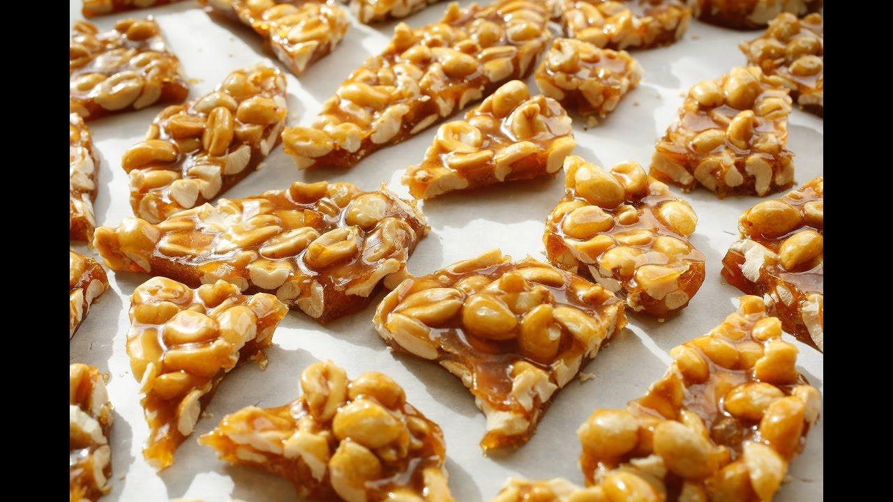 حلوى الفول السوداني بالكراميل الصلب الوصفات الخاصة بعاشوراء Homemade Peanut Brittle Youtube