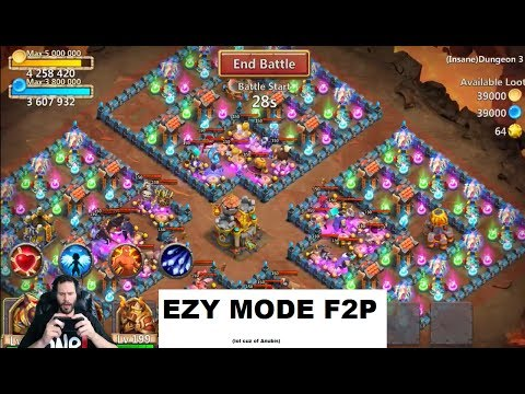 JT's Free 2 Play AnubiS IS INSANE 3 Dungeon 5-9 Castle Clash