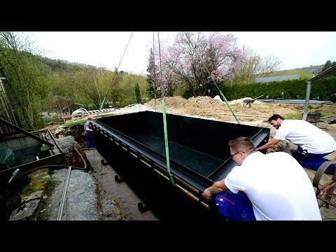 Modern Koi Blog #2332 - Der Bau eines Genesis-Teichs: Der Teich wird gesetzt