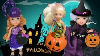 Anna and Elsa Toddlers Trick or Treating Halloween Haunted House Barbie Pranks & Candy Part 1 Frozen