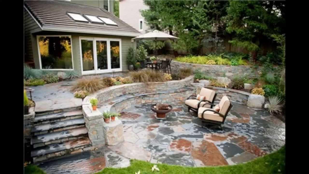 back yard patio design idea Stone patio ideas - YouTube