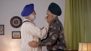 Emotional Scene: Indian soldier leaving for duty, bidding goodbye to aged father - Family scene at separation