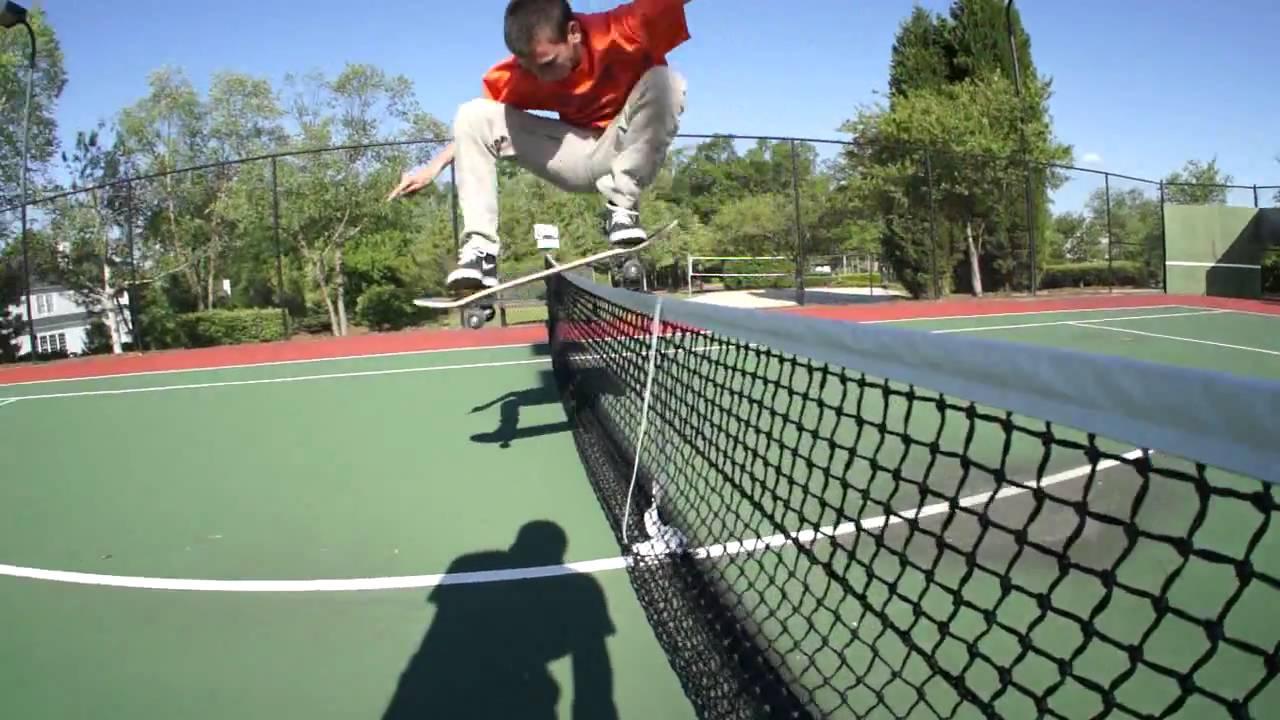 Dylan almost ollie tennis court net # 2