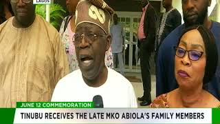 Tinubu receives late MKO Abiola's family members