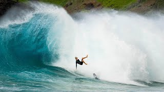 PRO SURFERS TAKE ON HUGE SHOREBREAK