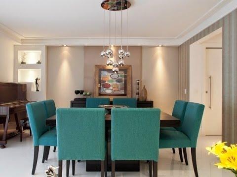 decoração de sala de jantar azul