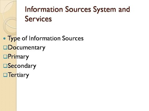Type of Information Sources