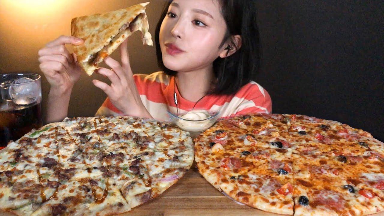 SUB[광고]피자헛 메가더블세트 피자 먹방 두판 순삭했어요 🍕 Pizza Mukbang ASMR