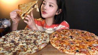 SUB[광고]피자헛 메가더블세트 피자 먹방 두판 순삭했…