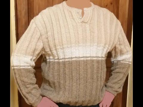 Пуловер мужской спицами рельефным полосатым узором, 1 часть
