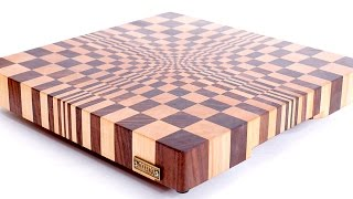 "3D end grain cutting board #1 to make with the use of 13"" planer. Free plans."