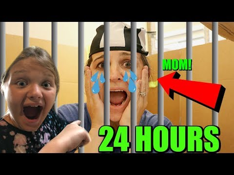 24 Hours In BOX FOR JAIL! Mom Steals Toys! Mom Goes To BoxFort Prison Overnight!
