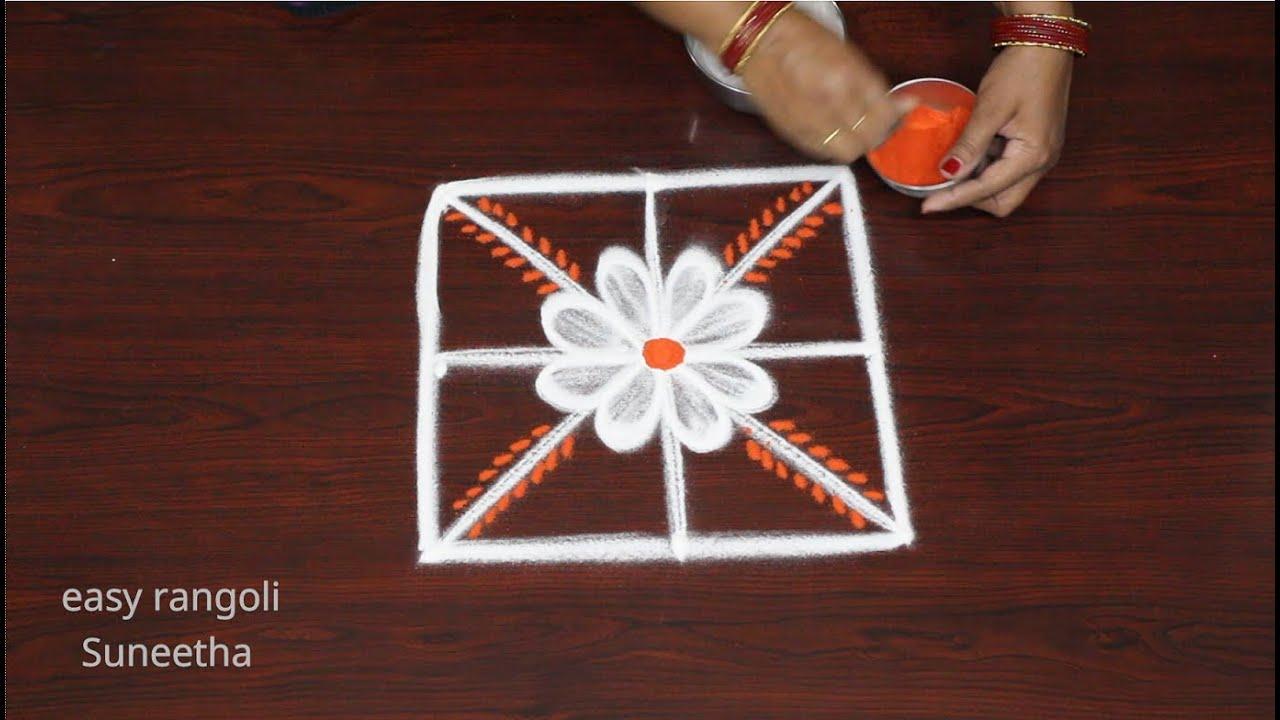 Simple & Easy Friday Diya muggulu || Latest small kolam rangoli designs by Suneetha