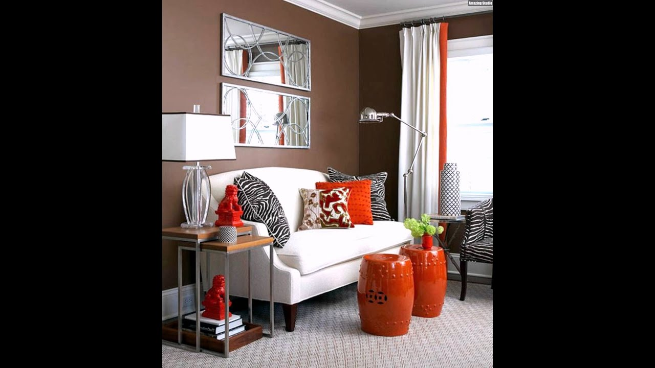 wandfarbe wohnzimmer schokoladen braun orange wei e deko. Black Bedroom Furniture Sets. Home Design Ideas
