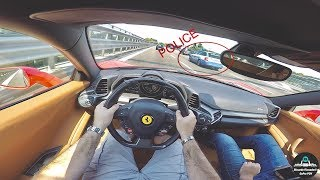 EPIC POV Ferrari 458 Italia CRAZY DRIVING IN CLOSE TRAFFIC - Overtaking 285 Cars in 10 Minutes