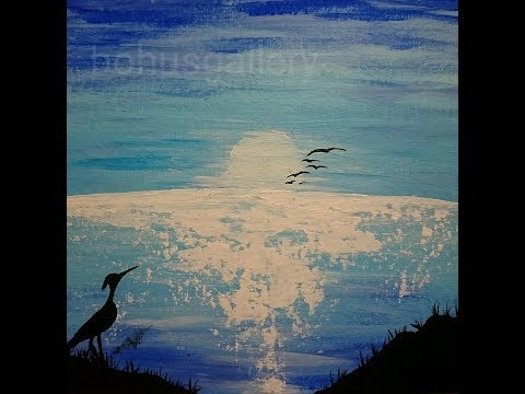 Heron silhouette painting – Blue sunset painting – Easy acrylic painting for beginners