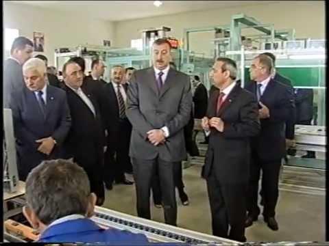 "Ali Evsen with the president of Azerbaijan Republic Ilham Aliyev in ""STAR"" tv plant opening ceremony"