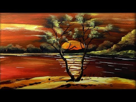 Sunset River Acrylic Painting | For Beginners | Step by Step Tutorial