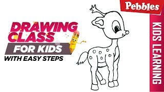 How to draw reindeer | Easy Step by step drawing | Christmas special Drawing for kids
