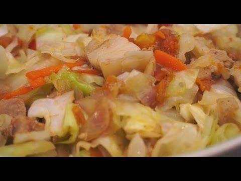 Paano magluto Ginisang Repolyo Baboy Pinoy cabbage Pork recipe Tagalog Filipino
