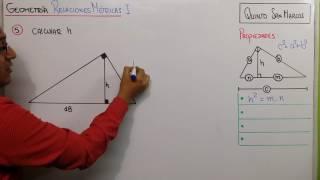 GEOMETRÍA - RELACIONES MÉTRICAS  EN EL TRIÁNGULO RECTÁNGULO PROBLEMA 5