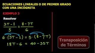 Ecuaciones Lineales o de Primer Grado con una incógnita, Ejercicio 1