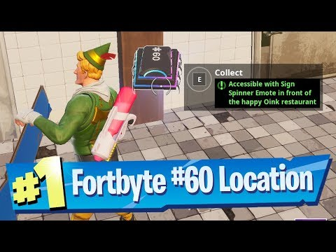 Fortnite Fortbyte #60 Location - Accessible With Sign Spinner Emote In Front Happy Oink Restaurant