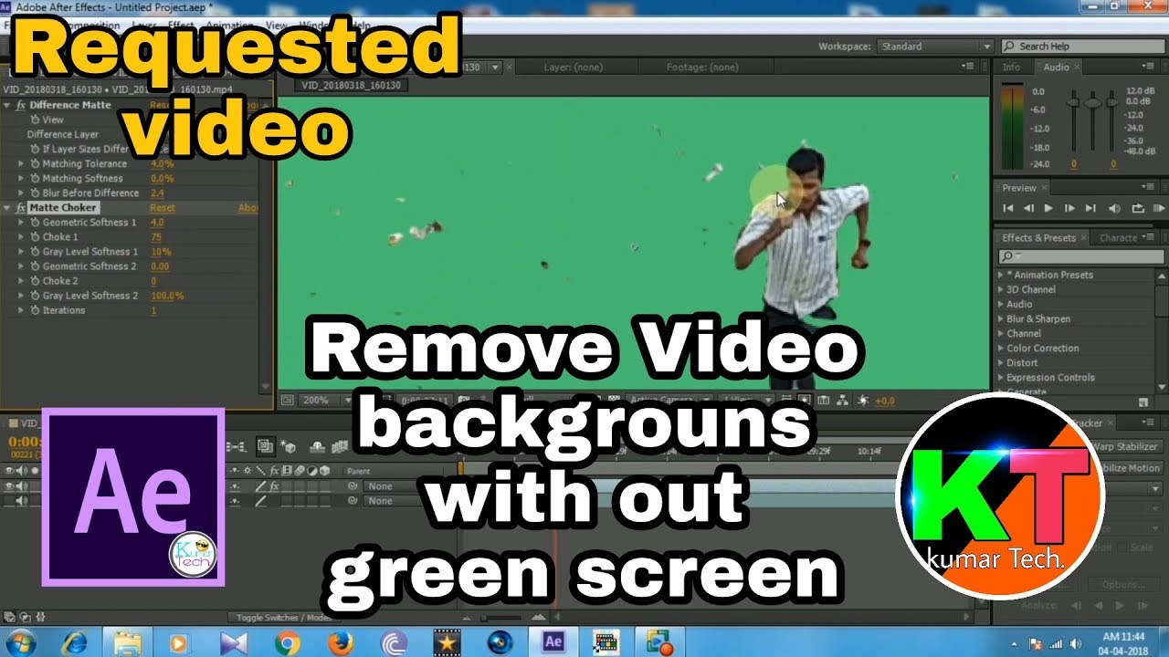 After effects remove background without green screen