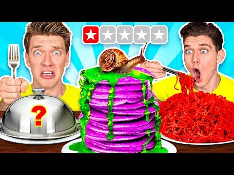 Worst Reviewed Food Mystery Wheel Challenge & How To Eat Weird Foods Like a Taro Pancake