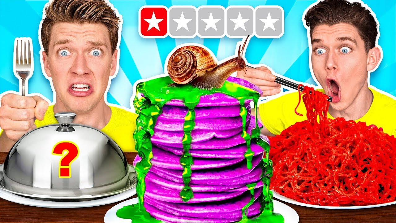 Worst Reviewed Food Mystery Wheel Challenge & How To Eat Weird Foods Like a Taro Pancake image