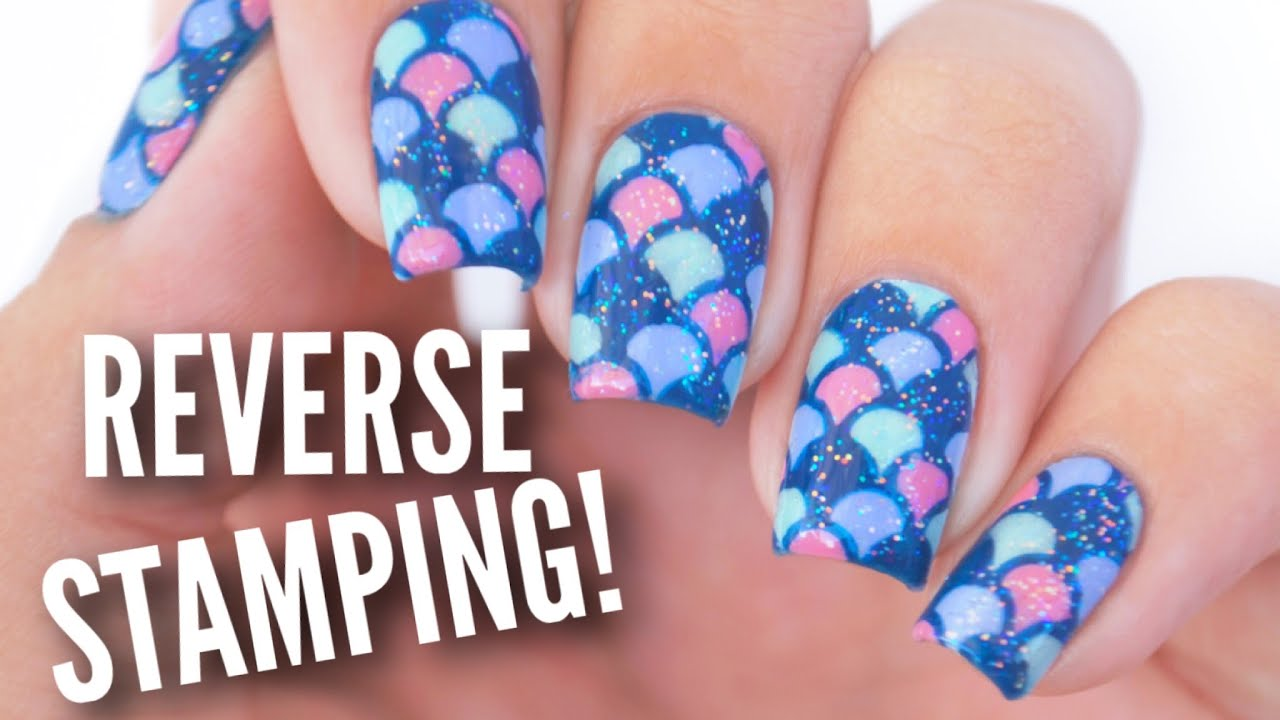 Reverse Stamping Hack Mermaid Nail Art Tutorial - YouTube