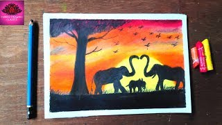 How to draw African Elephant at sunset Scenery with Oil Pastels step by step