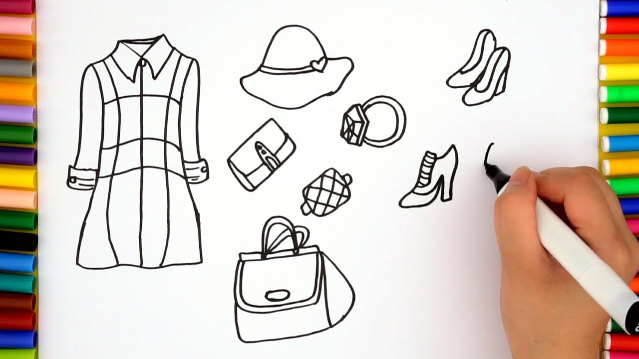 dresses coloring pages how to draw clothes for girls youtube