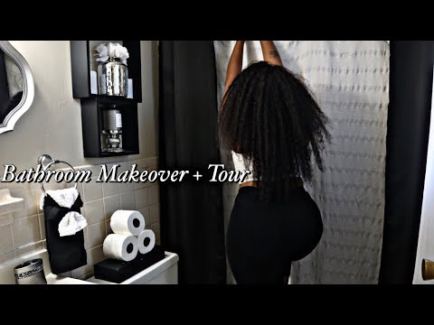 Glam Bathroom MAKEOVER |+CLEAN & DECORATE with me | Small Bathroom Decorating IDEAS | Rental Friendy