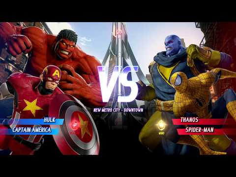 Red Hulk And Captain America Vs Yellow Thanos And Spider-Man