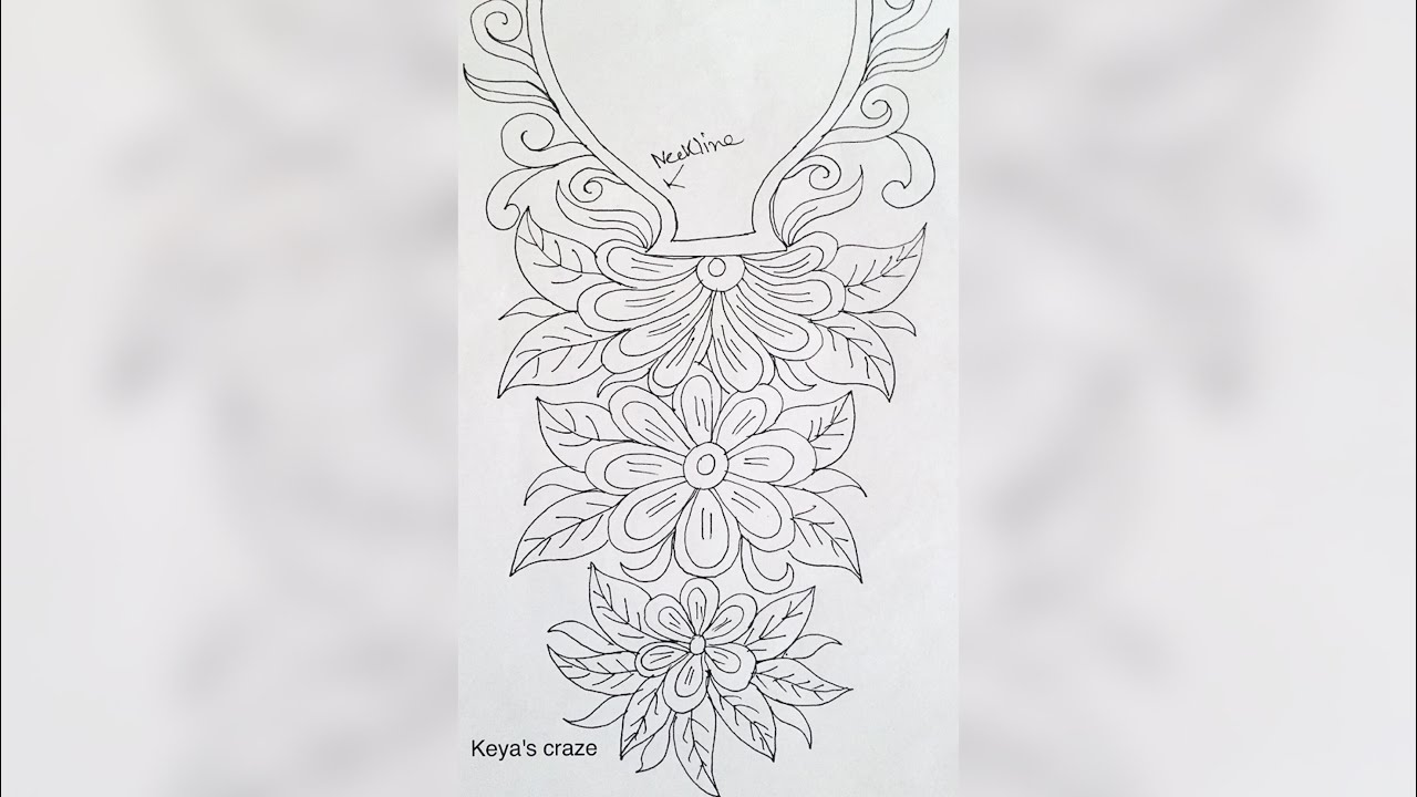 Neckline Drawing : Hand embrodiary design how to draw an easy neckline