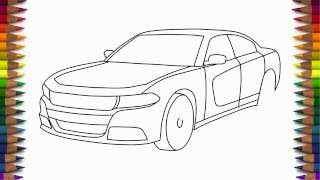 How to draw Dodge Charger RT 2015 step by step easy for beginners