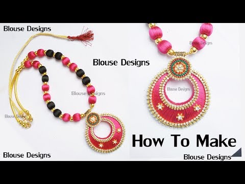 How to make silk thread necklace // bridal necklace making with silk thread // DIY