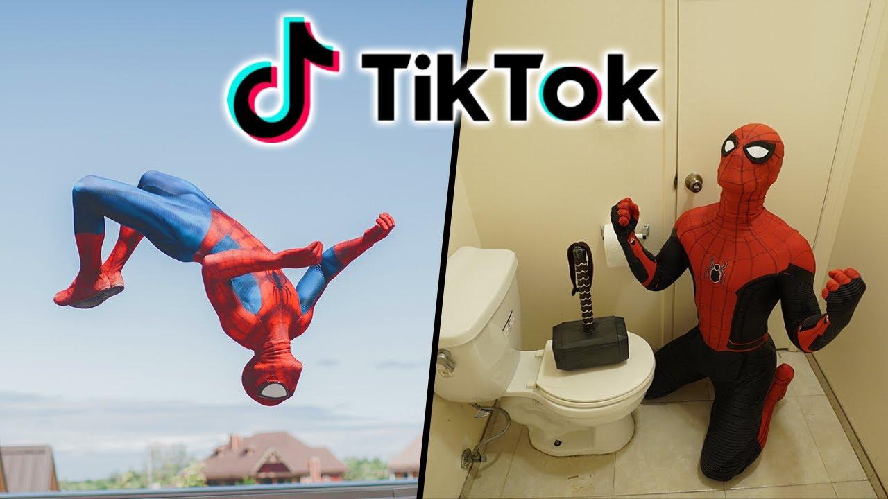 Best Spiderman TikTok Compilation (Stunts, in real life, Parkour)