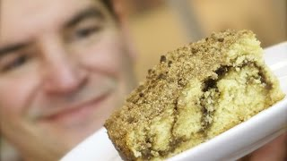 Cinnamon Crumble Cake: A Streusel Topped Slice With A Seam Of Sweet Caramel