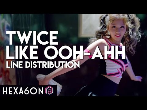 Twice  Like OOHAHH Line Distribution Color Coded