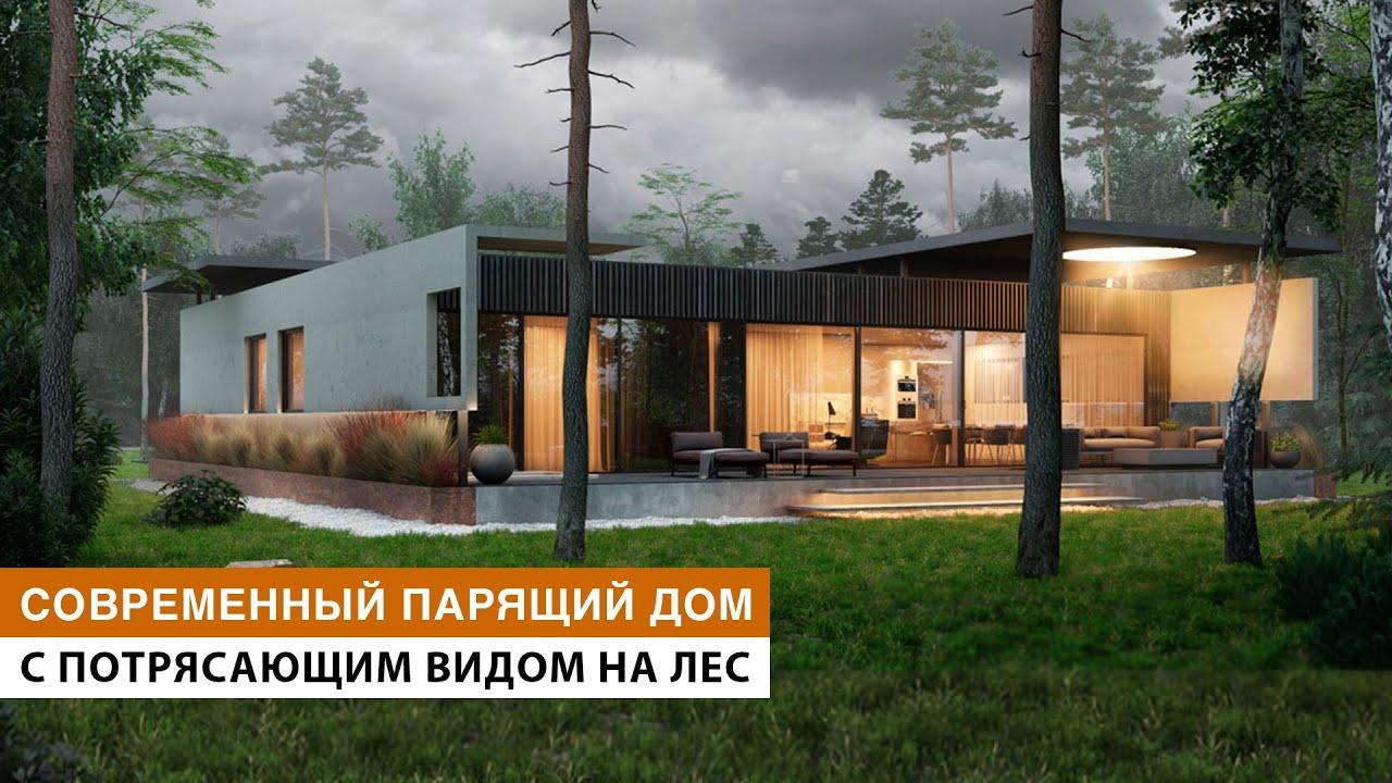 Обзор загородного каркасного дома в современном стиле с идеальным видом на лес и черным интерьером