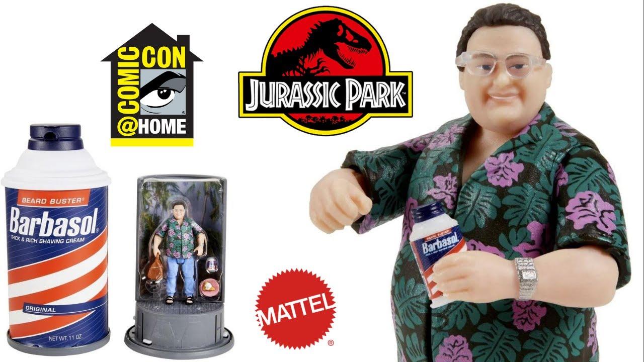San Diego comic-con Exclusive 2020 Jurassic Park Barbasol Dennis Nerd action figure dans la main